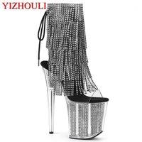 Bottes 8 pouces, bottines sexy à la cheville, talons hauts féminins, plate-forme imperméable perlée, danse de pôle de 20cm, bottes de performance de banquet1