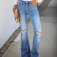 Pantalones vaqueros rotos para mujer Hole Micro Flowed Pants High Taliots Super Strlexy Jeans Mamá Blanqueado Button Placa Streetwear