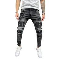 Calça de bicicleta jeans afligidos estiramento rasgado jeans jeans homens hip hop slim encaixe furos punk denim calças de algodão zíper