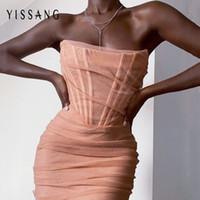 Yissang розовый без бретелек Sexy бинты Mesh платье женщин с плеча Подкладка клуб Бальные платья 2020 лето Элегантный Bodycon Sundress