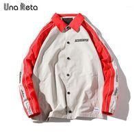 UNA Reta Ceket Erkek Yeni Gelenler Hip Hop Baskı Dikiş Dış Giyim Moda Rahat Antrenörler Ceketler Erkekler Streetwear Coat1