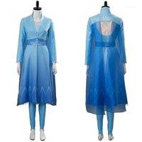 Аниме Костюмы в стоковой снежной королевы растут косплей девушка принцесса платье костюм женщины длинный синий наряд костюм Хэллоуин подарок1