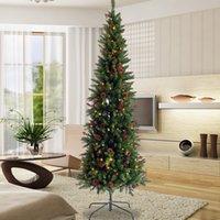 Yapay İnce Noel ağacı Konileri ve çilek 7.5ft katlanabilir metal stand W49819947 ile Kalem hissedin Gerçek Skinny Köknar Ağacı Ön yaktı