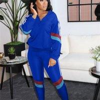 Yiciya Patchwork Kadınlar Için İki Parçalı Set Eşofman Uzun Kollu Tops Güz Moda Jogger Sweatpants Lounge Giymek Eşleştirme Setleri