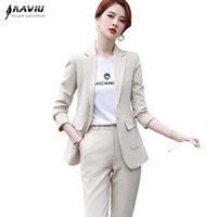 Женские брюки из двух частей Naviu Элегантная мода 2021 Весенние Женщины Костюм Официальные Набор Высококачественный Blazer и Трюши