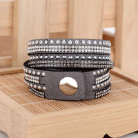 multi- layer rivet Leather bracelet woman bracelet Charm Brac...