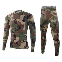 Vinter varm underkläder mönster kamouflage kombination mäns snabb torkning extrema svett heta underkläder kompression varma fitnessbyxor