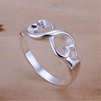 أسعار الجملة لسيدة النساء المدرجة الفضة اللون مزدوج الصليب الدائري مجوهرات لطيف هدية R092 H BBYZJE