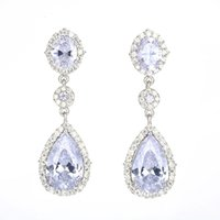 Classcial Zirkonia Teardrop baumeln Ohrringe 925 Sterling Silber-Nadel-Tropfen-Ohrringe für Frauen-Mädchen-Hochzeit Schmuck-Geschenk