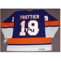 """Erkekler # 19 Bryan Trottier New York Adaları """"Rookie"""" 1975 CCM Vintage Home Hockey Jersey veya Özel Herhangi bir isim veya numara Retro Jersey"""