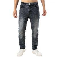 Jeans de Hommes 2021 Hommes de haute qualité Hommes Casual revêtus Slim Plissé Biker Pantalon Mâle Denim Plus Taille 421