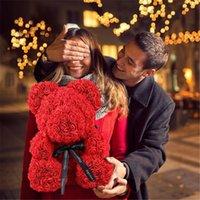 عينيروز عيد الحب رومانسية هدية مربع pe تيدي روز الدب الاصطناعي روز لطيف الكرتون عيد الميلاد هدية عيد ميلاد لصديقة طفل