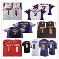 الرجال لامار جاكسون 7 الثانوية العامة النمور كرة القدم الفانيلة مخيط كلية لويزفيل 8 جاكسون 5 بريدجوتر جيرسي أحمر أسود أبيض