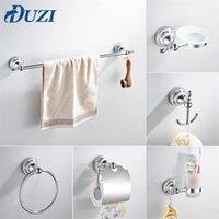Duzi Bulk Vendita Accessori per il bagno in cromo Set hardware In Lega di zinco Contiene tovagliolo Barra d'asciugamani Ago Hook Hook Holder Holder Supporto Scatola di sapone LJ201209