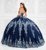 2021 chérie bleu robe de bal Quinceanera avec perles Appliqued lacent robe de bal parole longueur Robe De Festa douce 16 Robe