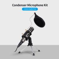 2020 Hot Multifuncional Condensador Microfone Microfone Kit de Microfone 3.5mm Telefone Celular Computer Karaoke Voice Microfone com Tripé