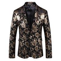 Fatos masculinos fatos blazers homens jaqueta moda ouro impressão estilo ocidental estilo cantor cantor host músico dançarino casual festa negócio blaze