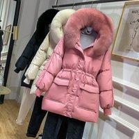 DEAT Winter New Arrivals Faux Fur Hooded Long White Duck Down Coat Women Jacket MK483 201023
