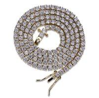 Hip Hop 3mm 16-24inches Cubic Zircon Silver 1 fila Micro Pave CZ Cadena de tenis Cadena de tenis Collar de joyería de cobre Envío de gota