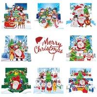 8Pcs Xmas Diamond Painting Greeting Card Merry Christmas Kit Special-shaped Part Drill Santa Claus Xmas Postcards