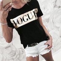Женщины Vogue Print T рубашка Женская письма топы лето с коротким рукавом рубашка мода хлопчатобумажные женские футболки Tee