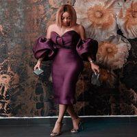 Виноградные Короткие выпускные платья 2021 Sexy с плеча Короткие рукава чай длины коктейль платья атласная Плюс Размер Женская партия Vestidos