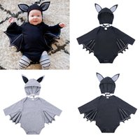 KT INS Halloween Baby Romper Bat Wing Cartoon Jumpsuits Long Sleeve Rompers Newborn Baby Boy Clothes Infant Clothing With Hat 3-24M