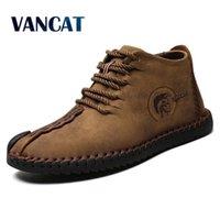 Vancat Moda Erkekler Çizmeler Yüksek Kaliteli Bölünmüş Deri Ayak Bileği Kar Botları Ayakkabı Sıcak Kürk Peluş Dantel-Up Kış Ayakkabı Artı Boyutu 38 ~ 48 LJ200916