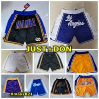 2021 MANMA MAMBA Just Don Pocket Shorts Retro auténtico cosido Los Angele 23 Black Mamba James Bols Ballball Shorts con etiquetas de logotipo real