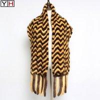 Luxury Real Scarf Cloak, Knit TasselGenuine Shawl Scarf, Long Style Shawl Scarf Fashion Fur Scarfs