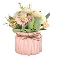 Fleurs décoratives Couronnes Colorful Hydrangea Artificial avec Flower Pot Vase Bouquet de bouquet Boule de soie Blooming Fake Mariage Home Table Table Decro