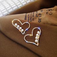 Amor Heart Pendientes Día de San Valentín Día de San Valentín Personas de Ear Studs Rhinestone Mujer Aleación Stud Moda Joyería 2 4SFH L2