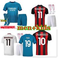 20 21 футбольные майки AC Milan IBRAHIMOVIC Комплект для мужчин и детей 2020 2021 PIATEK PAQUETA BENNACER REBIC AC camisa de futebol maillot de foot футбольная футболка