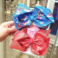 2020 nuove ragazze di Natale 8inch bowknot scrunchies Unicorn archi dei capelli dei capretti nastri per capelli jojo Siwa ragazze hairbands accessori per capelli B3019