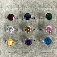 Taille 5-12 bijoux de luxe étincelants réel 925 argent sterling grand rond coupé multicolore CZ Diamond Gemstonons Femmes Bande de mariage Bague cadeau