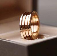 V Золотая роскошное качество панк пружины кольцо на 18 тыс. Розовое золото без выцветания без изменения для женщин свадебные украшения подарок бесплатная доставка PS64