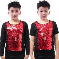 Yeni Erkek Sahne Kostüm Şarkıcı Host Giymek Çocuk Caz Dans Kostüm Payetli Yelek T-shirt Hip Hop Performans Giyim DQS2787
