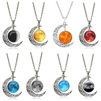 Men and women hollow carved moon star time gem necklace DMFN...