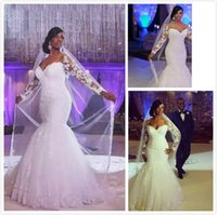 African Wedding Dresses Off The Shoulder Long Sleeves Lace Appliques Lace Custom Made Mermaid Plus Size Wedding Gowns Cheap Bridal Dress