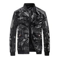 WAIDX PU Camouflage Jacket Hommes Bomber Coat TrackSuit Cueillettes Cuir Cuir Vestes imperméable Coffre Zipper Streetwear Droptship1