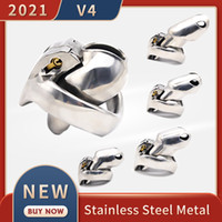 2021 New Metal V4 Male Chastity Device Set Stainless Steel Cock Cage Penis Ring Bondage Belt Fetish Adult Sex Toys