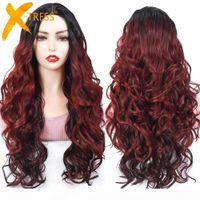Synthetic u Part Perruque de dentelle pour femmes noires Long Curly Ombre Bourgogne Rouge Couleur Perruque de cheveux avec une ligne de cheveux Narutal Pièce centrale X-Tresse