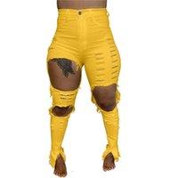 Mujeres Jeans Pantalones rasgados Slim Skinny Hole Denim Moda personalizada Moda Mujeres Pantalones huecos Pantalones largos Lápiz Pantalones Tassels Hole HEARD H12103