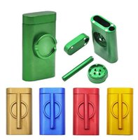Metal Dugout One Hitter Smoke Machine Smoking Pipe Accessories Grinder case Abrader Combo Cigarette Holder Filter Cans