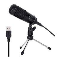 Dizüstü MAC, Windows Studio Recording Vokal Üzerinden Ses Kondenser Tripod Açı ayarlama Ses Kontrol Mikrofon için metal USB Mikrofon