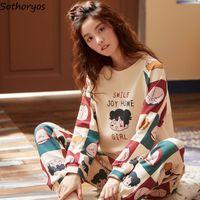 Pajama Sets Women Cartoon Printed Long Sleeve O-neck Korean Style Comfortable Elegant Leisure Sleepwear Soft Sweet Womens Trendy 201012