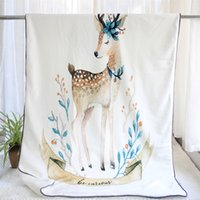 Animales pintados a mano Invierno Soft Minky Flannel Thermal Baby Blanket 2 capas Sherpa Recién nacido Swaddle Toddler Quilt Kids Cover 201130