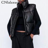 Black Stand Collar Gilet Donne Moda Zipper PU in pelle Cappotti femminile Elegante autunno inverno inverno corto tuta sportiva femminile signore parka