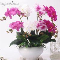 2 филиала Real Touch Butterfly Орхидея Искусственный Цветок DIY Свадьба Главная Сад Декор Поддельные Цветочные PU Растения Горшок Цветы Орхидея T200703