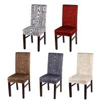 4pcs / lot amovible maison chaise de chaise de chaise en bois blanc gris noir motif en bois élastique stretch stretch spandex chaise de bureau1